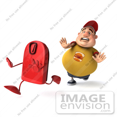 #47097 Royalty-Free (RF) Illustration Of A 3d Fat Burger Boy Mascot Chasing A Red Scale by Julos