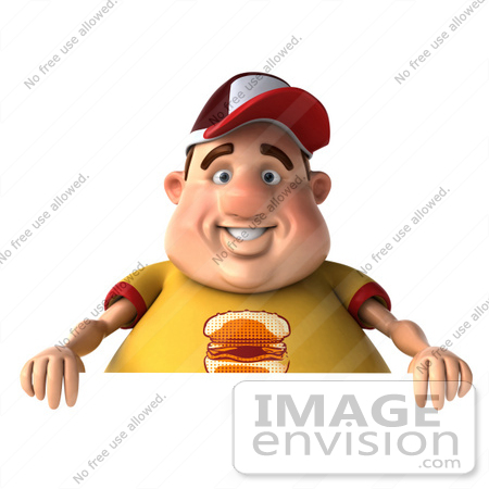 #47107 Royalty-Free (RF) Illustration Of A 3d Fat Burger Boy Mascot With A Blank Sign by Julos