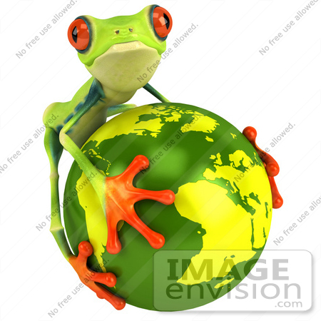 #47458 Royalty-Free (RF) Illustration Of A 3d Green Tree Frog Embracing The Earth by Julos