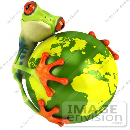 #47460 Royalty-Free (RF) Illustration Of A 3d Tree Frog Hugging The Earth by Julos