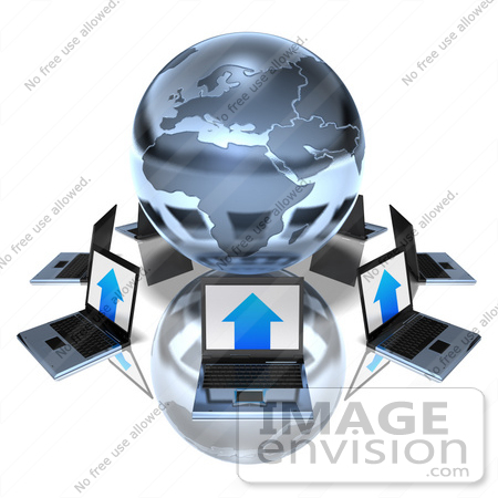 #47724 Royalty-Free (RF) Illustration Of 3d Laptops Around A Blue Metallic Globe by Julos