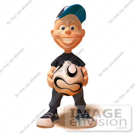 #47726 Royalty-Free (RF) Illustration Of A 3d White Boy Holding A Soccer Ball by Julos