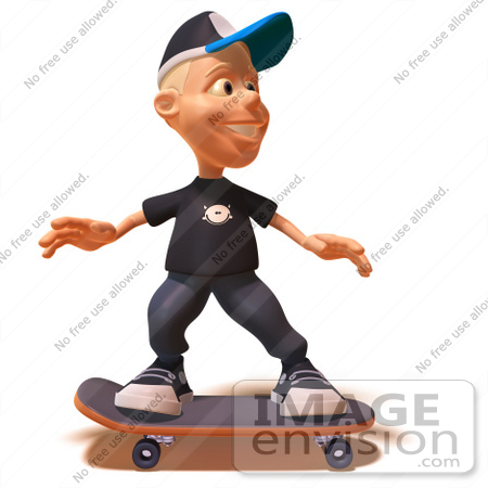 #47731 Royalty-Free (RF) Illustration Of A 3d White Boy Skateboarding - Version 3 by Julos