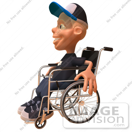 #47734 Royalty-Free (RF) Illustration Of A 3d White Boy In A Wheelchair - Version 2 by Julos