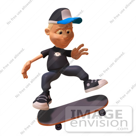 #47735 Royalty-Free (RF) Illustration Of A 3d White Boy Skateboarding - Version 1 by Julos