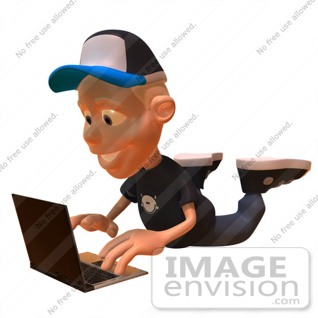 #47736 Royalty-Free (RF) Illustration Of A 3d White Boy Using A Laptop - Version 2 by Julos
