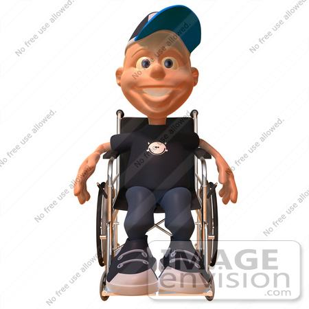 #47738 Royalty-Free (RF) Illustration Of A 3d White Boy In A Wheelchair - Version 1 by Julos