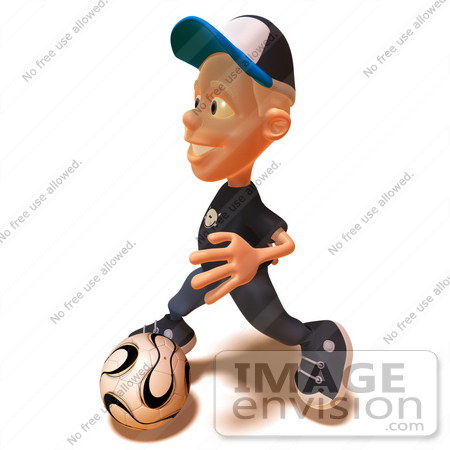 #47742 Royalty-Free (RF) Illustration Of A 3d White Boy Playing Soccer - Version 2 by Julos