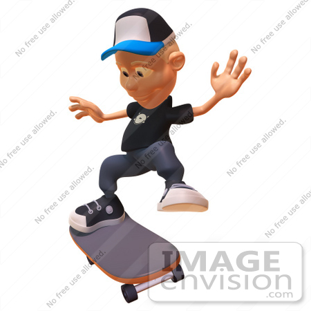 #47743 Royalty-Free (RF) Illustration Of A 3d White Boy Skateboarding - Version 5 by Julos