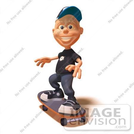 #47747 Royalty-Free (RF) Illustration Of A 3d White Boy Skateboarding - Version 2 by Julos