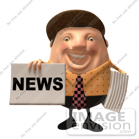 #47756 Royalty-Free (RF) Illustration Of A 3d Newsman Mascot Holding Up A Paper - Version 4 by Julos