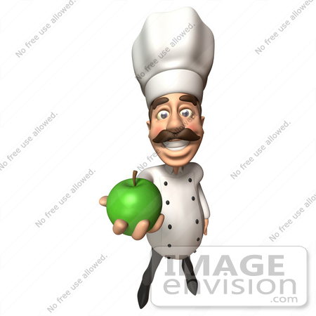 #47801 Royalty-Free (RF) Illustration Of A 3d Gourmet Chef Mascot Eating A Green Apple - Version 3 by Julos