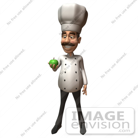 #47812 Royalty-Free (RF) Illustration Of A 3d Gourmet Chef Mascot Eating A Green Apple - Version 1 by Julos