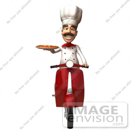 #47813 Royalty-Free (RF) Illustration Of A 3d Gourmet Chef Mascot Delivering Pizza On A Scooter - Version 3 by Julos
