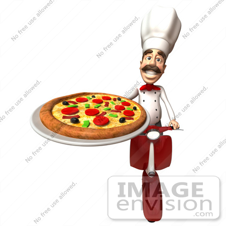 #47875 Royalty-Free (RF) Illustration Of A 3d Gourmet Chef Mascot Delivering Pizza On A Scooter - Version 4 by Julos