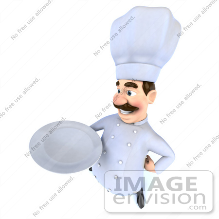 Art illustration of a 3d head chef mascot holding a plate - version