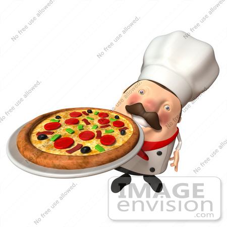#47942 Royalty-Free (RF) Illustration Of A 3d Chubby Executive Chef Mascot Serving A Pizza Pie - Version 3 by Julos