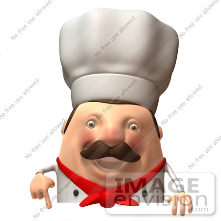 #47944 Royalty-Free (RF) Illustration Of A 3d Chubby Executive Chef Mascot Standing Behind A Blank Sign - Version 4 by Julos