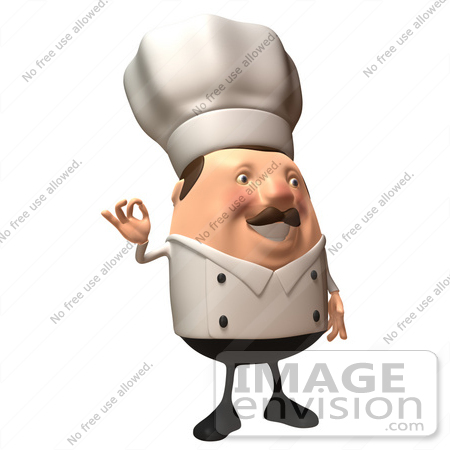 #47954 Royalty-Free (RF) Illustration Of A 3d Chubby Executive Chef Mascot Gesturing The A Ok Sign - Version 3 by Julos