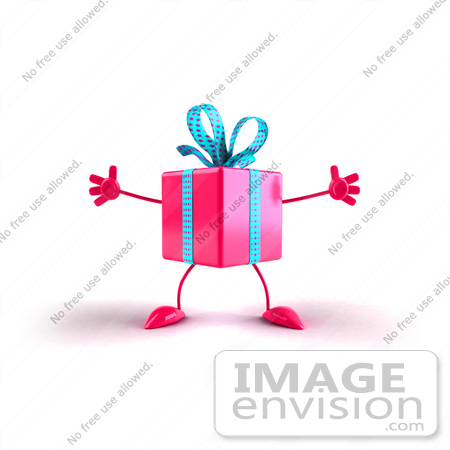 #47970 Royalty-Free (RF) Illustration Of A 3d Pink Present Mascot With Open Arms by Julos