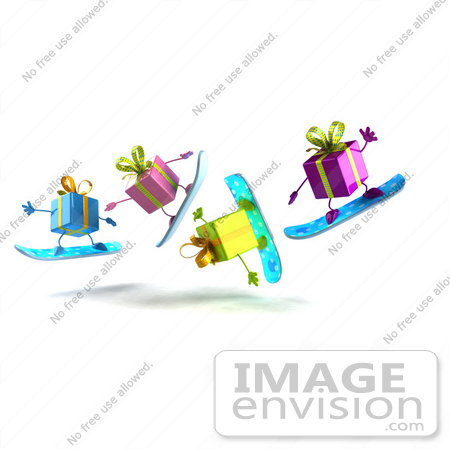 #47988 Royalty-Free (RF) Illustration of a Group Of Four 3d Present Mascots Snowboarding - Version 6 by Julos