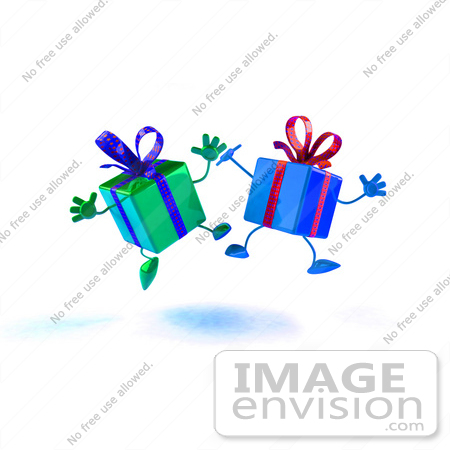 #47999 Royalty-Free (RF) Illustration Of Two 3d Present Mascots Jumping - Version 2 by Julos