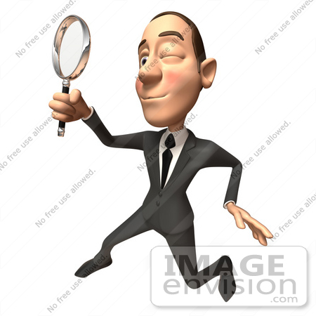 #48089 Royalty-Free (RF) Illustration Of A 3d White Collar Businessman Mascot Using A Magnifying Glass - Version 4 by Julos