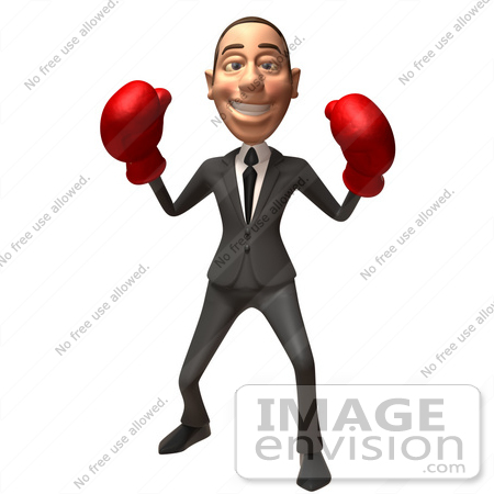 #48111 Royalty-Free (RF) Illustration Of A 3d White Collar Businessman Mascot Boxing - Version 5 by Julos