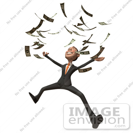 #48114 Royalty-Free (RF) Illustration Of A 3d White Collar Businessman Mascot Throwing Money - Version 3 by Julos