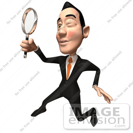 #48163 Royalty-Free (RF) Illustration Of A 3d White Collar Businessman Mascot Using A Magnifying Glass - Version 4 by Julos