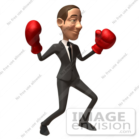#48175 Royalty-Free (RF) Illustration Of A 3d White Collar Businessman Mascot Boxing - Version 3 by Julos