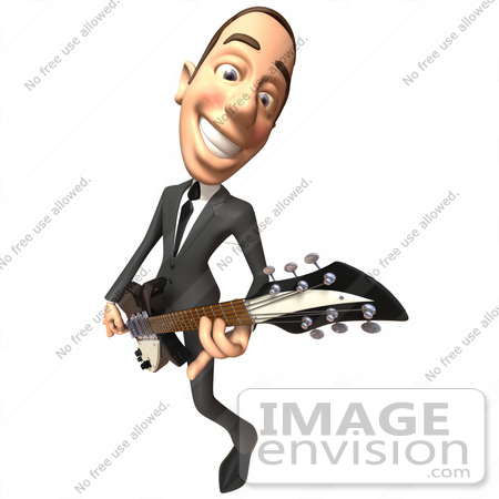#48206 Royalty-Free (RF) Illustration Of A 3d White Collar Businessman Mascot Playing An Electric Guitar - Version 3 by Julos