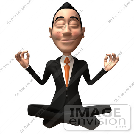 #48211 Royalty-Free (RF) Illustration Of A 3d White Collar Businessman Mascot Meditating - Version 2 by Julos