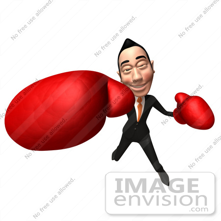#48240 Royalty-Free (RF) Illustration Of A 3d White Collar Businessman Mascot Boxing - Version 6 by Julos