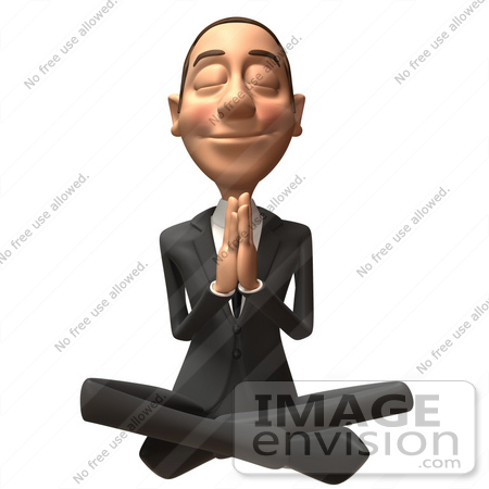 #48241 Royalty-Free (RF) Illustration Of A 3d White Collar Businessman Mascot Meditating - Version 2 by Julos
