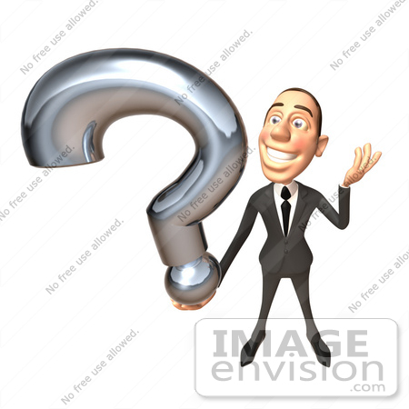 #48253 Royalty-Free (RF) Illustration Of A 3d White Collar Businessman Mascot Holding A Question Mark - Version 2 by Julos