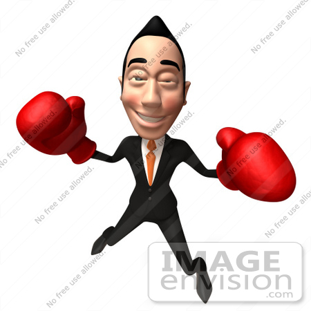 #48259 Royalty-Free (RF) Illustration Of A 3d White Collar Businessman Mascot Boxing - Version 5 by Julos