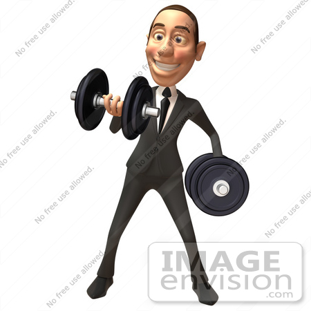 #48261 Royalty-Free (RF) Illustration Of A 3d White Collar Businessman Mascot Lifting Weights - Version 1 by Julos
