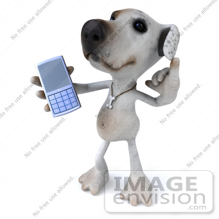 #48278 Royalty-Free (RF) Illustration Of A 3d Jack Russell Terrier Dog Mascot Holding Out A Cell Phone by Julos
