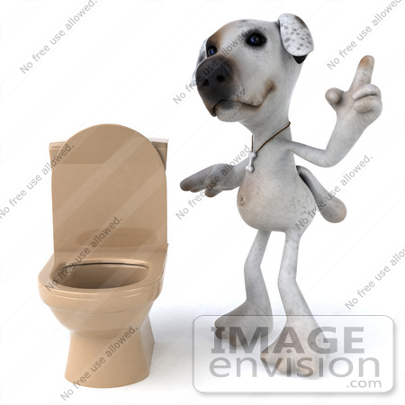 #48286 Royalty-Free (RF) Illustration Of A 3d Jack Russell Terrier Dog Mascot Standing Beside A Tan Toilet - Version 2 by Julos
