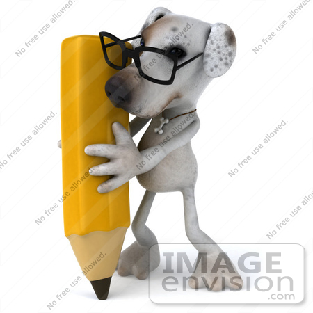 #48288 Royalty-Free (RF) Illustration Of A 3d Jack Russell Terrier Dog Mascot With A Pencil - Pose 2 by Julos