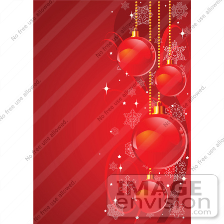 48379 Clip Art Illustration Of A Bright Red Vertical Xmas Holiday Background With Bulbs