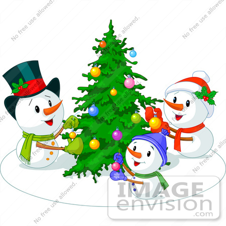 48414 Clip Art Illustration Of A Snowman Family Decorating Their Xmas Tree By Pushkin