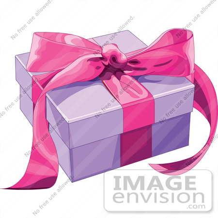 #48433 Clip Art Illustration Of A Purple Present Box Sealed With A Pink Ribbon by pushkin