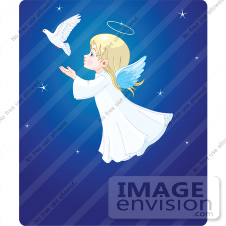 #48451 Clip Art Illustration Of An Adorable Xmas Angel Girl Flying Behind A Dove In A Blue Starry Sky by pushkin