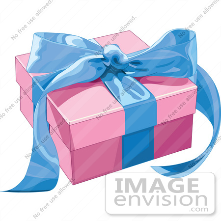 #48457 Clip Art Illustration Of A Pink Present Box Sealed With A Blue Ribbon by pushkin