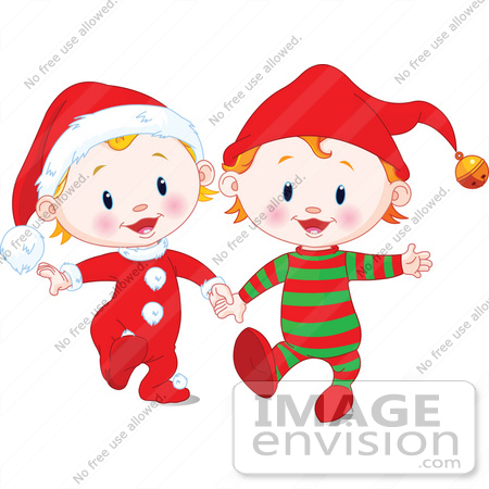#48503 Clip Art Illustration Of Two Xmas Babies In Santa And Elf Suits, Walking And Holding Hands by pushkin