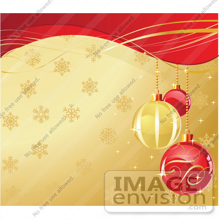 48514 Clip Art Illustration Of Ornate Red And Golden Xmas Bulbs Over A Snowflake Gold