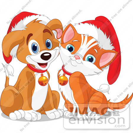 #48518 Clip Art Illustration Of An Adorable Puppy And Kitten Wearing Santa Hats And Bells by pushkin