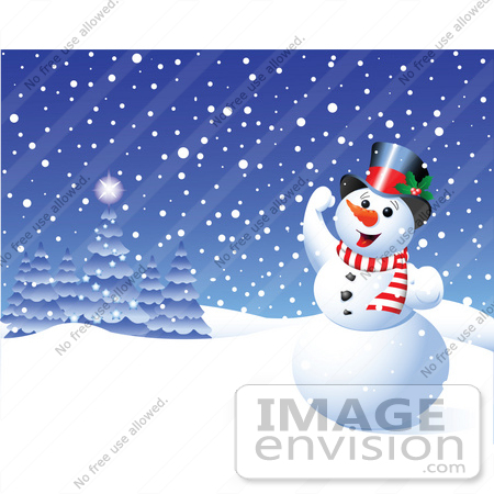 Clip Art Illustration Of A Happy Xmas Snowman Playing In The Snow ...